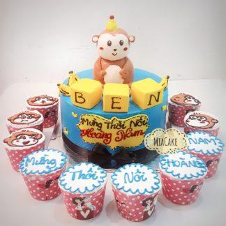 Bánh 3D con khỉ và cupcake