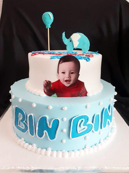bánh sinh nhật 2 tầng cho bé - mẫu con voi