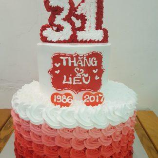 Bánh kỉ niệm ngày cưới 2 tầng chữ 3D