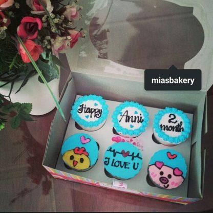 Mẫu bánh cupcake kỉ niệm yêu nhau trang trí dễ thương, happy anniversay 2 months
